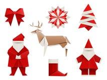 Realistic origami, Christmas set: Santa, deer, christmas tree, snowflake and so. Vector illustration. Royalty Free Stock Photos