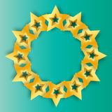 Realistic Origami 3D gold stars on a blue background. Stock Photo