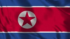 Realistic 1920x1080p 30 fps flag of the North Korea waving in the wind. stock illustration