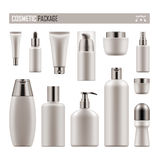 Realistic package for cosmetic product. Set of realistic package for cosmetic product. Collection of white blank template of container, tube, bottle, spray Stock Photo