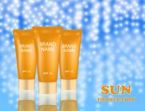 Realistic packages of Sun Protection Cream tubes. Vector illustration Royalty Free Stock Images