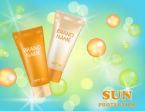 Realistic packages of Sun Protection Cream tubes. Vector illustration Royalty Free Stock Photo