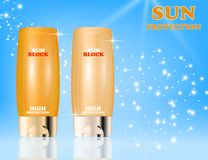Realistic packages of Sun Protection Cream tubes. Vector illustration Royalty Free Stock Image