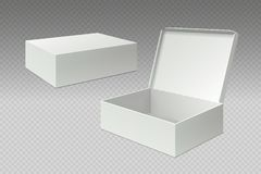 Realistic packaging boxes. Open mock up blank package, white square paper cardboard. Empty carton pack vector template royalty free illustration