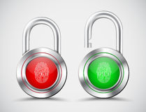Realistic padlocks with a fingerprint to open them on the red an Stock Photos