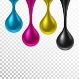 CMYK color background. Realistic paint drops in CMYK colors on transparent background. Vector illustration royalty free illustration