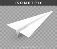 Realistic paper airplane in the isometric view with transparent shade Royalty Free Stock Photo