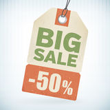 Realistic paper big sale 50 percent off price tag. From background. layered vector illustration
