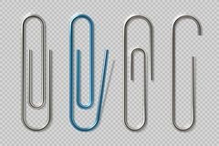 Realistic paper clips. Isolated transparent attach elements, school supplies, metal fasteners notebook holders. Vector. Isolated clips vector illustration