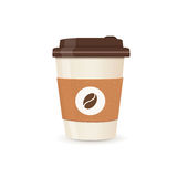 Realistic paper coffee cup. Small size. Coffee take away. Vector illustration.  royalty free illustration