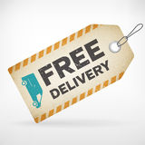 Realistic paper free delivery labels. Realistic paper free delivery  label.  from background. layered Royalty Free Stock Photo