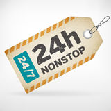 Realistic paper 24h nonstop labels. Realistic paper 24h nonstop  label.  from background. layered Stock Photo