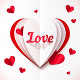 Realistic paper Love sign in folded hearts Stock Photography