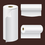 Realistic paper roll mock up set isolated vector illustration blank white 3d packaging kitchen towel template royalty free illustration