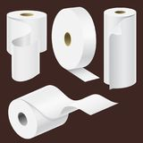 Realistic paper roll mock up set isolated vector illustration royalty free illustration