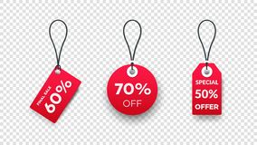 Realistic Paper Sale Tags. Set Of Vector Sale Labels Isolated On Transparent Background. Vector Design Elements.  Stock Illustration