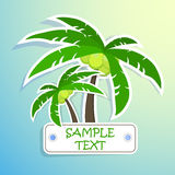 Realistic paper sticker palm. Isolated Royalty Free Stock Photos