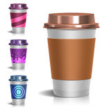 Realistic paper take-out coffee cup vector illustration on white Royalty Free Stock Photography