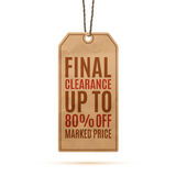 Realistic paper vintage price tag Stock Images