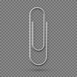 Realistic Paperclip icon. Paper clip attachment with shadow. Attach file business document. Vector illustration isolated. On transparent background stock illustration