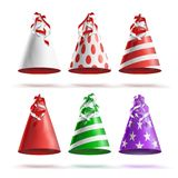 Realistic Party Hat Set Vector. Celebrations Holidays Colorful Festive Caps. Party Hat Set Vector. Realistic Festive, Birthday Caps. Accessory Holiday Isolated Royalty Free Stock Photo