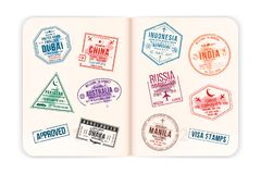 Realistic passport pages with visa stamps. Opened foreign passport with custom visa stamps. Travel concept. To Asian and Australian countries. Vector royalty free illustration