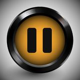 Realistic Pause Button Icon Dark Metal Frame. Realistic pause button with yellow template in dark metallic frame. Metal texture interface object. Vector stock illustration