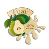 Realistic pear. Berry label with juice splash. Vector illustration  on white background. 100% natural organic fruit Royalty Free Stock Photography