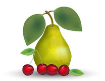 Realistic Pear and Cherries  on White Background. Royalty Free Stock Photo