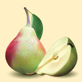 Realistic pear with green leaves and half pear Royalty Free Stock Photography