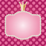 Realistic Pearls Frame With Crown Stock Images