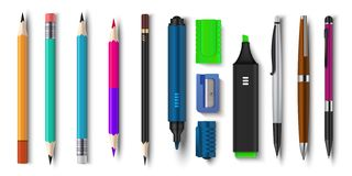 Realistic pen and pencils. 3D school and office supplies, brush marker and sharpened pencils. Vector colored plastic set