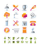 Realistic Petrol Station and Travel icons vector illustration