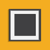 Realistic photo frame isolated on yellow background. Pictures fr. Ame vector illustration royalty free illustration