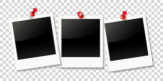 Realistic photo frame on red push pin Royalty Free Stock Image