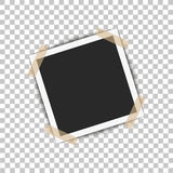 Realistic photo frame with shadow pin on sticky tape. Vector illustration on transparent background ready for your design Stock Image