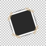 Realistic photo frame with shadow pin on sticky tape. Vector illustration on transparent background ready for your design.  Royalty Free Stock Photography