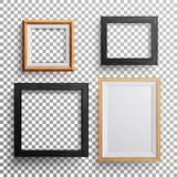 Realistic Photo Frame Vector. 3d Set Square, A3, A4 Sizes Light Wood Blank Picture Frame, Hanging On Transparent Background With S Stock Photos