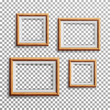 Realistic Photo Frame Vector. Set Square, A3, A4 Sizes Light Wood Blank Picture Frame, Hanging On Transparent Background From The Royalty Free Stock Photography