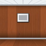 Realistic photo frame with wood interior room. Vector illustration royalty free illustration