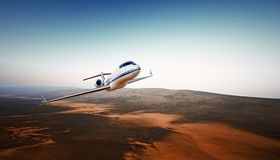 Realistic Photo White Luxury Generic Design Airplane.Private Jet Cruising High Altitude, Flying Over Mountains.Empty Stock Photo