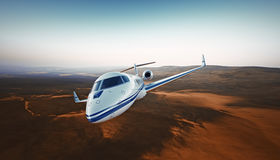 Realistic Photo White Luxury Generic Design Private Airplane Jet Flying Over the Mountains.Empty Blue Sky with Sun at Stock Image