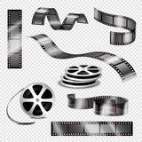 Realistic Photographic Strips And Film Reels. Realistic straight and twisted photographic strips and film reels 3d set on transparent background  vector Stock Photo