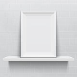 Realistic picture frame on white realistic shelf Royalty Free Stock Photo