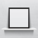 Realistic picture frame on white realistic shelf, Royalty Free Stock Image
