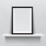 Realistic picture frame on white realistic shelf, Royalty Free Stock Images