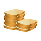 Realistic picture stack slices bread bakery food. Illustration Stock Photo