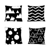 Realistic pillow models with different geometric prints and patterns in black and white colors. Apartment interior design elements. Scandinavian style Stock Image