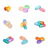 Realistic Pills Icons Set Royalty Free Stock Photography