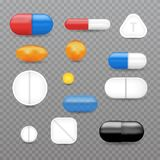 Realistic pills, vitamins, capsule, pharmaceutical drugs set. Vector illustration Royalty Free Stock Image
